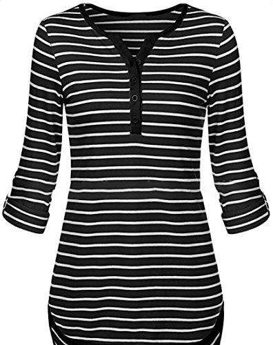 ouxiuli Women's V Neck Stripes Print Henley Tee Blouse T-Shirts Black L by ouxiuli