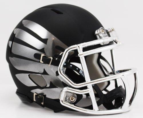 (Oregon Ducks Titanium Black Eclipse Black Matte Shell and Chrome Wings with Chrome Facemask Riddell Speed Mini Football Helmet)
