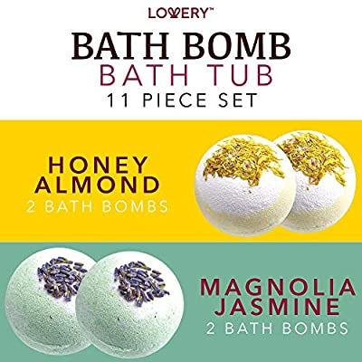 Bath Bombs Gift Set for Women – 10 Oversized Two Tone Colorful Bath Fizzies with Shea & Coco Butter Dry Flower Petals – Ultra Lush Spa Bath Set in Cute Tub - Multiple Fragrances – Perfect Holiday Gift