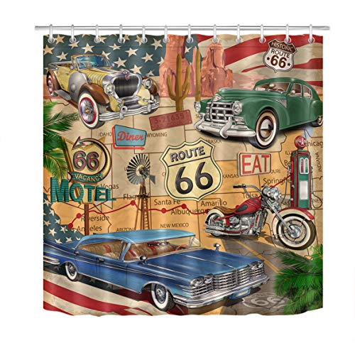 LB Anique Car Shower Curtain,Old Classic Car Theme American Vintage Route 66 Diner Motorcycle Shabby Chic Shower Curtain,Waterproof Fabric 72x72 Inches with 12 Hooks