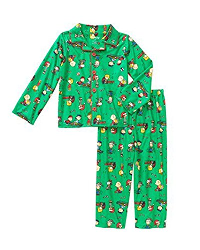 peanuts toddler boys holiday button down pajamas 2 piece set 2t green