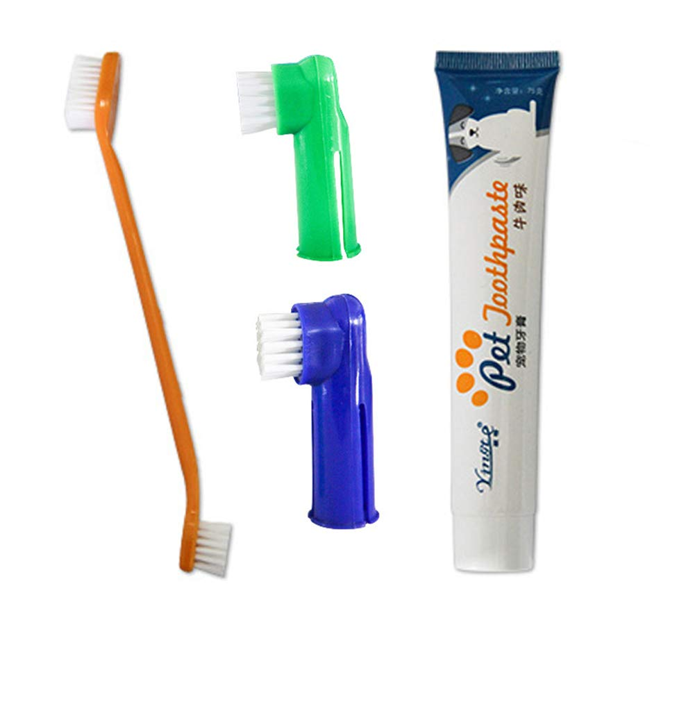 Cheerpet Dog Toothpaste and Toothbrush Set Mini Headed Dual Headed Handle Toothbrushes for Small to Large Dogs