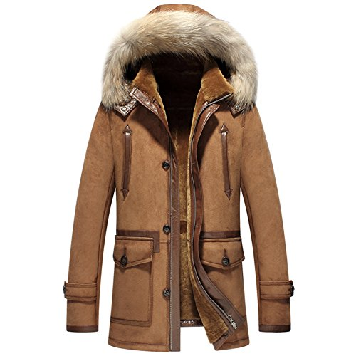 New Style Men's Shearling Coat Luxury Raccoon Fur Collar Hooded Outerwear (L, Brown)