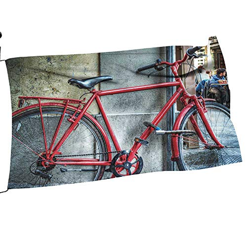 """Youdeem-tablecloth Garden Flag red Bicycle Against a Wall in Florence,Italy Spring Summer Welcome Yard Decor24 x 36"""""""