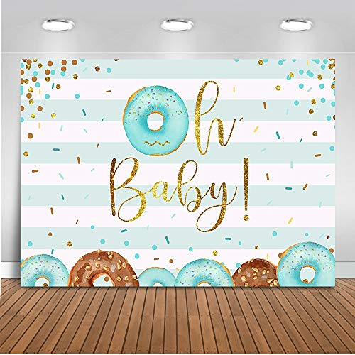 Mocsicka Donut Baby Shower Backdrop Boy Donut Party