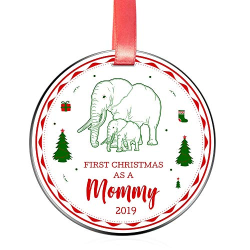 Elegant Chef First Christmas as a Mommy 2019 Ornament for New Moms- Tree Hanging Decoration Gift for Xmas Holidays Celebration- Baby & Mother Elephant Festival Ornaments- 3 inch Flat Stainless Steel (Ornament New Mom)
