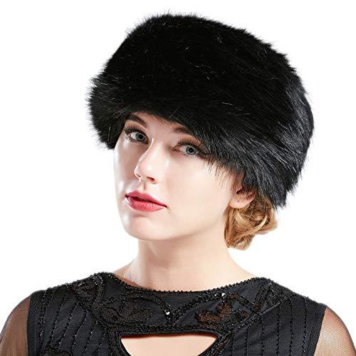 BABEYOND Women's Faux Fur Hat Russian Cossack Cap Hat Faux Fur Cap Winter Wrap Hat for Women (Large/X-Large, Black)]()