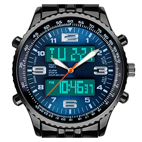 VIGOROSO Men's LED Analog Digital Date Week Sports Outdoor Steel Blue Dial Watch