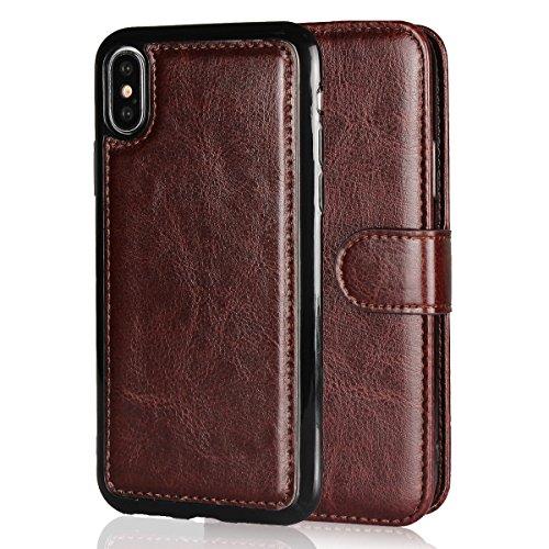 Scheam iPhone X Case Luxury PU Leather Wallet Flip Protective Bumper Case...