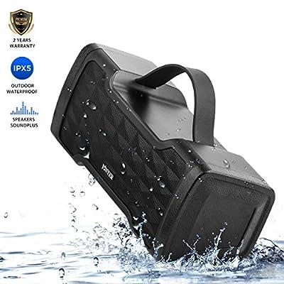 IPX5 Waterproof Bluetooth Speaker,JONTER SoundPlus Portable Bluetooth Speaker : 24W Speakers,Loud Volume,More Bass,Free Sound,Bluetooth 4.2 technology Wireless Speaker for Outside (Black)