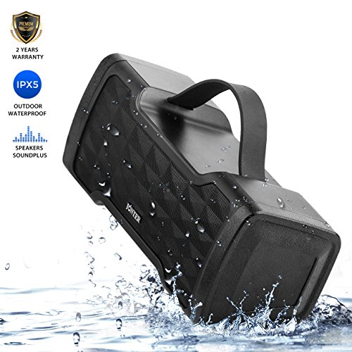 Portable Bluetooth Speaker, JONTER Soundplus IPX5 Waterproof Wireless Speakers with 24W Stereo Pairing Speakers, Lound Volume, Enhanced Bass, Bluetooth 4.2 for Home, Outdoor, Travel (Black)