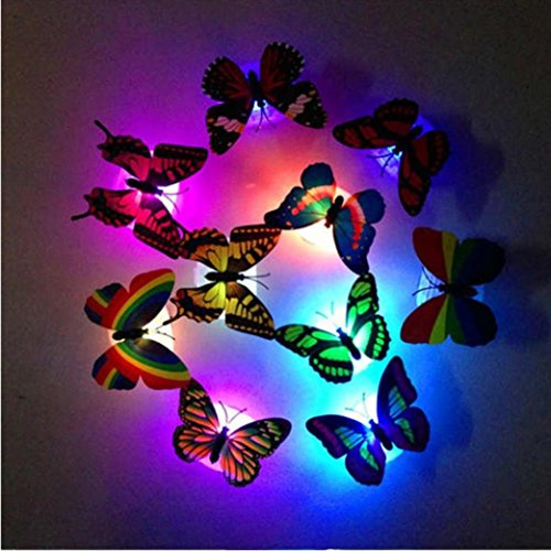 Colorful Changing Butterfly LED Night Light with Suction Pad , Tuscom Auto-Change 7 Different Colors Lamp Home Room Party Desk Wall Decor (5PC/Random)