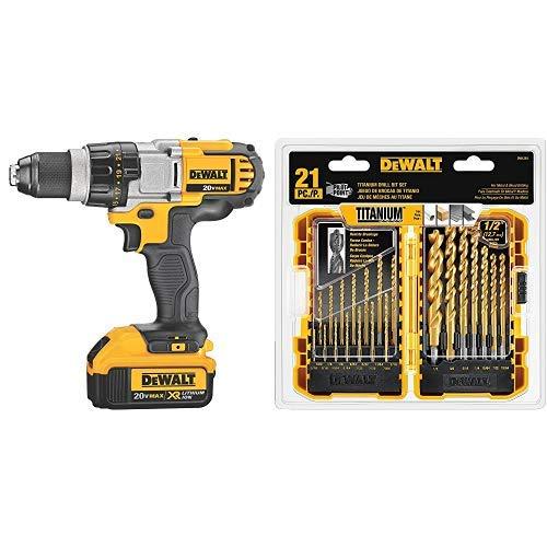 (DEWALT 20V MAX XR Brushless Drill/Driver 3-Speed, Premium 4.0Ah Kit (DCD980M2) with DEWALT DW1361 Titanium Pilot Point Drill Bit Set, 21-Piece )