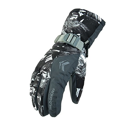 Ladies Snowboarding (Ski Gloves, Waterproof Cold Proof Thinsulate Winter Thermal Gloves for Mens,Womens,ladies and Kids Skiing,Snowboarding (Grey))