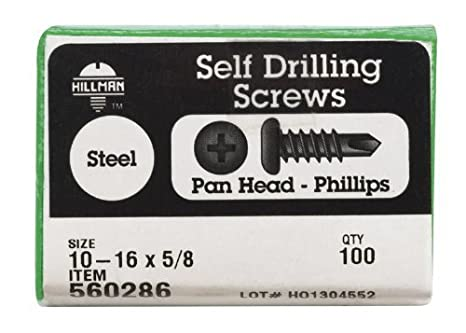 The Hillman Group 560286 10-16-Inch x 5//8-Inch Pan Head Phillips Self Drilling Screw 100-Pack