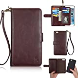 Young 2 in 1 Set Magnetic Cover [ Hand Strap ] Advanced Cover for iPhone 6 Plus / 6S Plus 5.5 Case [ Removable Card Holder ] [ Detachable Cover ] Compatible with Car Mount Holder - Brown