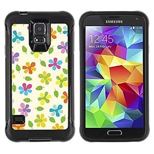 Suave TPU Caso Carcasa de Caucho Funda para Samsung Galaxy S5 SM-G900 / Beige Colorful Pattern Green / STRONG