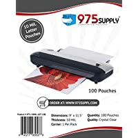 975 Supply - 10 Mil Clear Letter Size Thermal Laminating Pouches - 9 X 11.5 - 100 Pouches