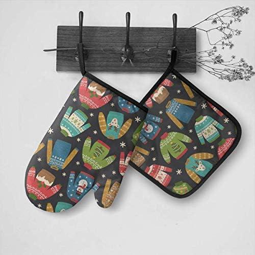 Wenxiupin Ofenhandschuhe und Topflappen, 2-teiliges Set, hässliches Weihnachtsmuster, wasserdicht, hitzebeständig, Topfunterlage für BBQ, Kochen, Backen, Grillen
