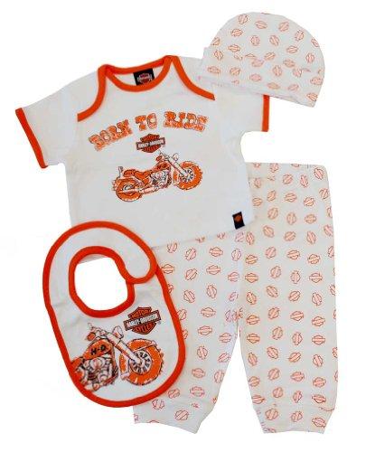Harley-Davidson Baby Boys' 4 Piece Boxed Gift Set, Top, Pant, Hat, Bib 0352472 Orange