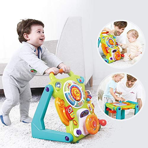 Toyshine 3 in 1 Baby Sit-to-Stand Walker with Walker, Table, and Learning Board