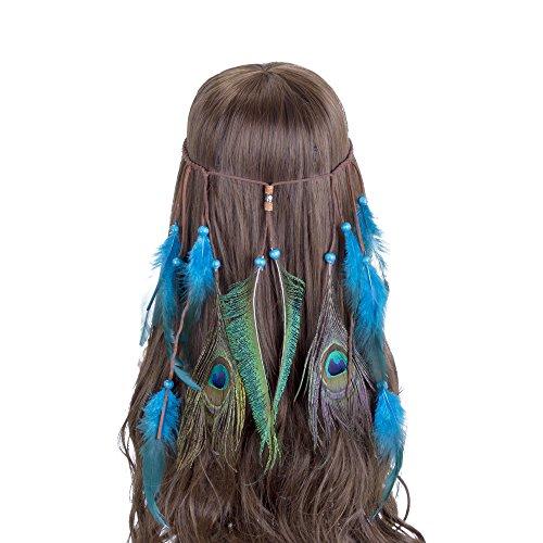 AWAYTR Boho Fancy Feather Headband - Women Hippie Hairband Festival Headwear Hair Hoop