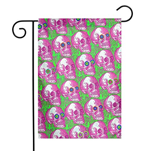 Private Bath Customiz Skull Watchers Dizzy Eyes Pattern Garden Yard Flag Welcome House Flag Banners for Patio Lawn Outdoor Home Decor -