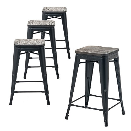 "Buschman Store Wooden Seat, Counter Height Metal Bar Stools, Indoor/Outdoor, Stackable, 24"" H, Matte Black, Set of 4"