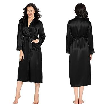 94a637077f9 LilySilk Silk Robe for Women s Long Sleeve 22 Momme Lacey Cuff 100%  Mulberry Silk Bathrobe