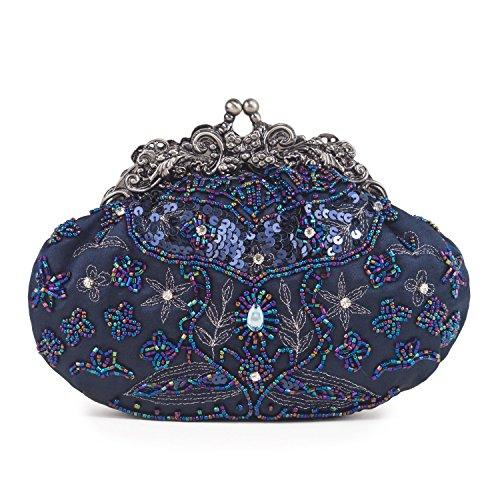 Farfalla 90404 - Bolso estilo sobre de satén mujer azul - azul marino