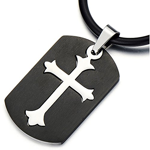 Tag Dog Pendant Cross - COOLSTEELANDBEYOND Unique Black Dog Tag Pendant with Cross Stainless Steel Necklace for Men for Boys
