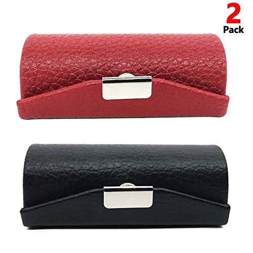 (Leather Small Lipstick Case Holder with Mirror Organizer Bag for Purse Lipstick Holder,Cosmetic Storages for Ladies 2 Pack (Red+Black) )
