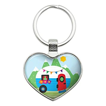 Vintage Retro Camper RV Camping Travel Trailer Heart Love Metal Keychain Key Chain Ring