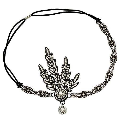 BABEYOND Art Deco 1920's Flapper Great Gatsby Inspired Leaf Medallion Pearl Headpiece Headband - Headband Black