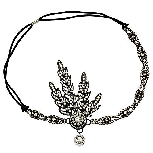 BABEYOND Art Deco 1920's Flapper Great Gatsby Inspired Leaf Medallion Pearl Headpiece Headband - Black Headband