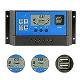 PowMr 60A Solar Charge Controller,Intelligent USB Port Display 12V/24V Auto Charge Regulator