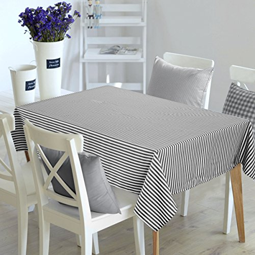 Deconovo Stripe Pattern Table Cloth Water Resistant and Spill Resistant Rectangular Tablecloth Recycled Table Cover for Dining Table 54x72 Inch White and Black -