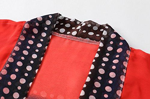 WEIYAN Women's Summer Tops Loose Chiffon Kimono Cardigan Blouse (Big Flower, M) by WEIYAN (Image #3)