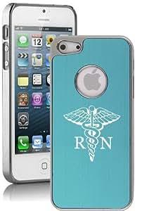 Apple iPhone 5 5s Light Blue 5E1650 Aluminum Plated Chrome Hard Back Case Cover Medical Symbol RN Registered Nurse
