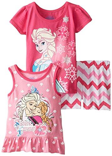 Disney Girls' 3 Piece Elsa Short Set, Pink, 6X (Piece Shorts Cotton Three)