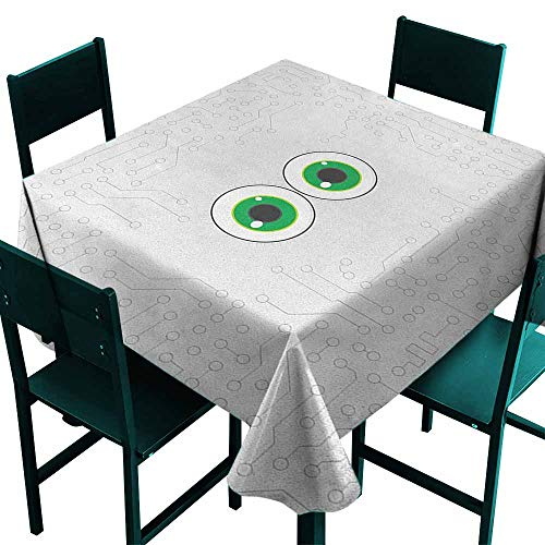 Warm Family Trippy Dustproof Tablecloth High Tech Hardware Circuit Board Backdrop with Eye Forms Digital Picture Great for Buffet Table W63 x L63 Pearl Black Jade Green