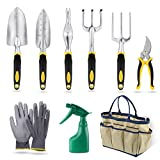 YISSVIC Garden Tools Set, 9 Piece Heavy Duty Gardening kit Cast-aluminum Soft Rubberized Non-Slip Handle -Durable Storage Tote Bag Pruning Shears - Garden Gifts Men Women