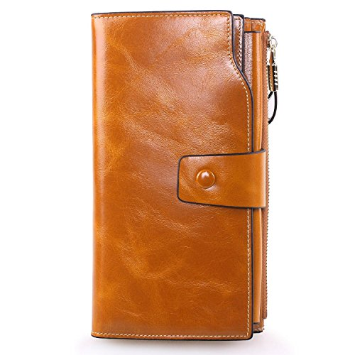 AINIMOER Women's Large Capacity Luxury Wax Genuine Leather Ladies Wallet With Zipper Pocket(Yellowish Brown)