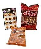 3 Pc Make Your Own Pumpkin Spice Jack O lantern Chocolate Dipped Pretzels Bundle: 1- Pumpkin Spice Melts, 1- Package Large Rod Pretzels, 1- Jack O Lantern Icing decoration
