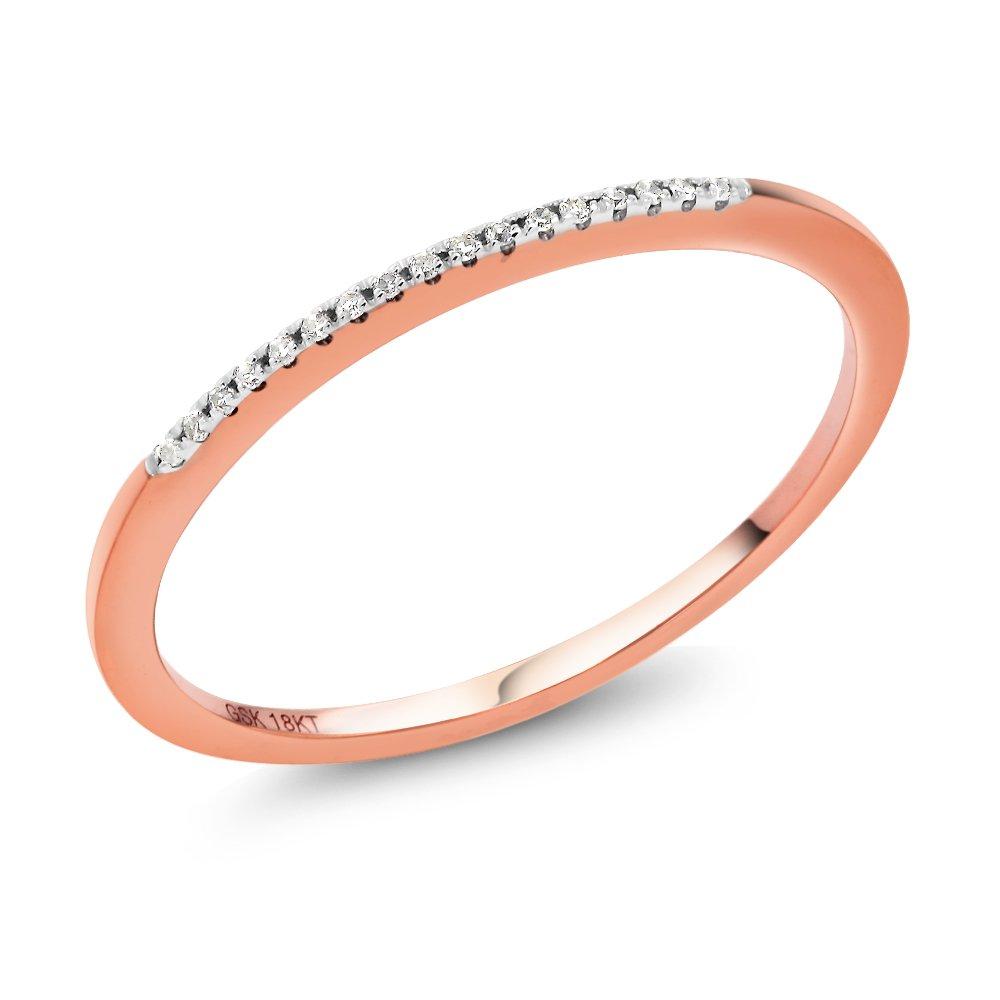 18K Solid Rose Gold White Diamond Anniversary Wedding Band Ring (Available 5, 6, 7, 8, 9) IJM-0126