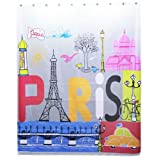 Waterproof Love In Paris Bathroom Shower Curtain (200*180cm)