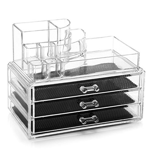 Drawer Style Cosmetic Storage Box Transparent Plastic Desktop Cosmetic Case by Cosmetic Cases