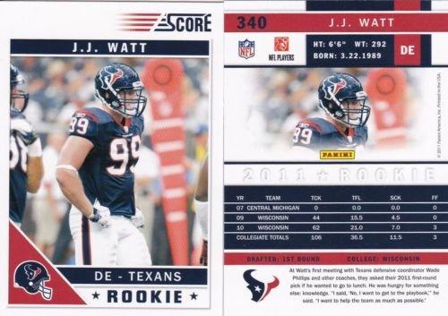 2011 Panini Score J.J. Watt Rookie Card #340-Short Print Variation-- NFL Trading Card- Shipped in Protective Case.