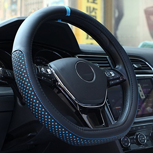 D Cut Steering Wheel Cover - D Shaped Flat Bottom Microfiber Leather Anti-skid 109D Blue