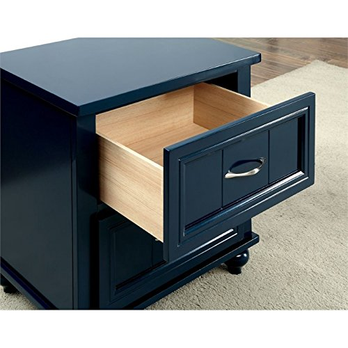 Furniture of America Elias 2 Drawer Nightstand in Blue